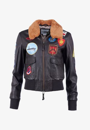 LEDERBLOUSON FÜR DAMEN - Leather jacket - braun
