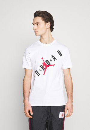 STRETCH CREW - T-shirt med print - white/black/gym red