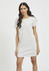 Vila - VITINNY - Jersey dress - snow white/total eclipse - 0