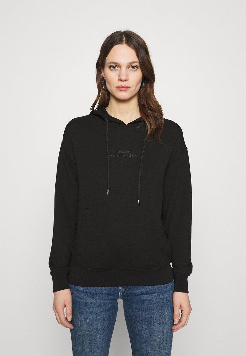 Moss Copenhagen - LOGO HOOD  - Sweatshirt - black/black