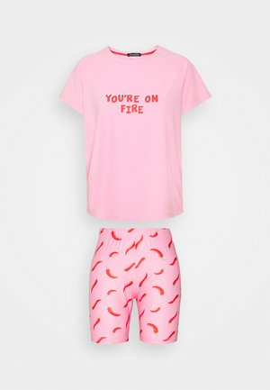 YOU'RE ON FIRE T-SHIRT WITH LEGGING SHORT - Pyjamas - pink