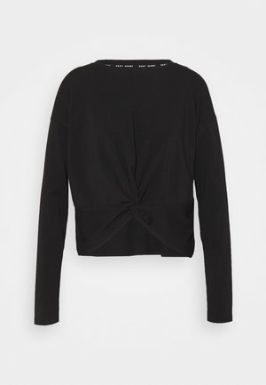 TWIST FRONT LONG SLEEVE CREWNECK TEE - Long sleeved top - black