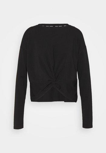 TWIST FRONT LONG SLEEVE CREWNECK TEE - Long sleeved top - black