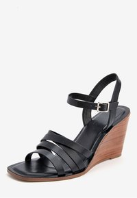 Next - TAN STRAPPY WOOD HEEL WEDGES - High heeled sandals - black - 3