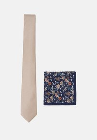 CHAMPAGNE FLORAL SET - Pocket square - neutral