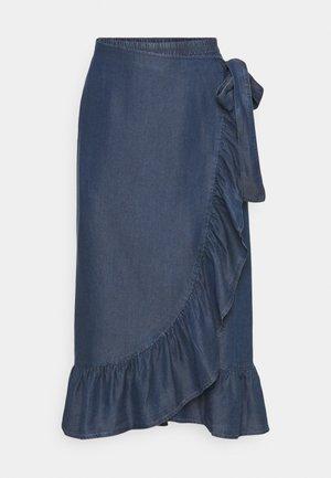 ONLSOFIA WRAP MEDI SKIRT - Pencil skirt - dark blue denim