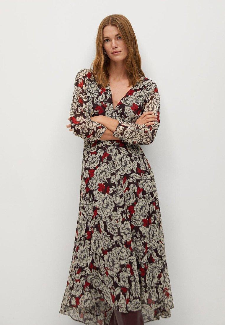 Mango - MOTIFS FLORAUX - Długa sukienka - noir
