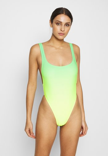 SCOOP NECK SWIMSUIT WITH HEART DIAMANTE THONG BACK