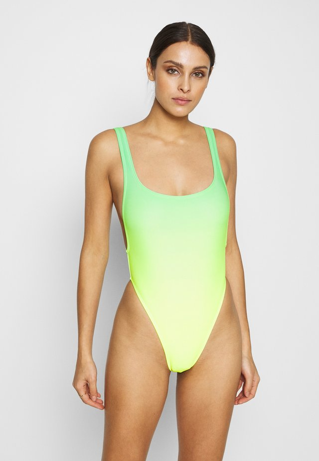 SCOOP NECK SWIMSUIT WITH HEART DIAMANTE THONG BACK - Badpak - green