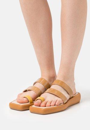 LARISSA  - T-bar sandals - brown/yellow
