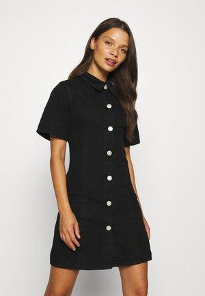 A-LINE COLLARED MINI DRESS - Jeansklänning - black