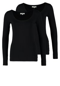Zalando Essentials - 2 PACK - Long sleeved top - black/black - 0