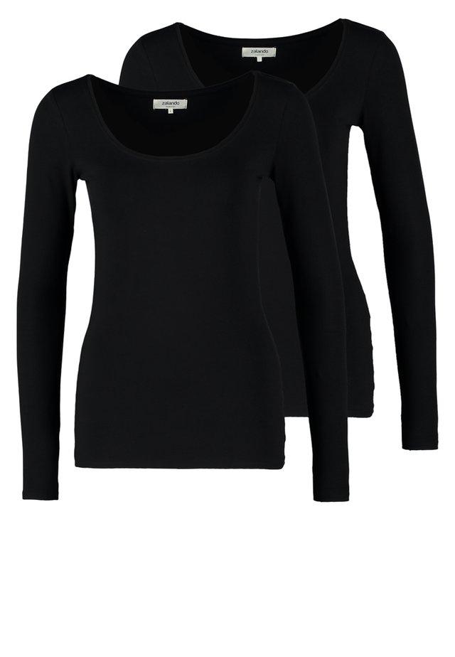 2 PACK - T-shirt à manches longues - black/black