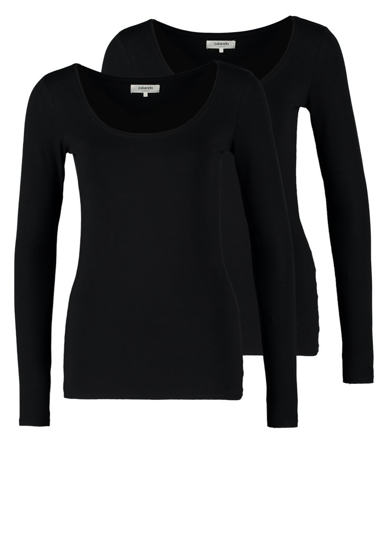 Zalando Essentials - 2 PACK - Long sleeved top - black/black