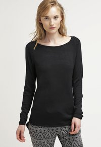 ONLY - ONLMILA LACY LONG - Strickpullover - black - 0