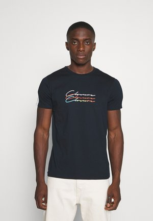 TRIPLE LOGO TEE - Print T-shirt - navy