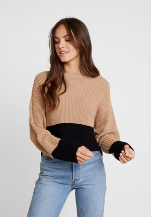 CROPPED COLOR BLOCK - Sweter - sand/black
