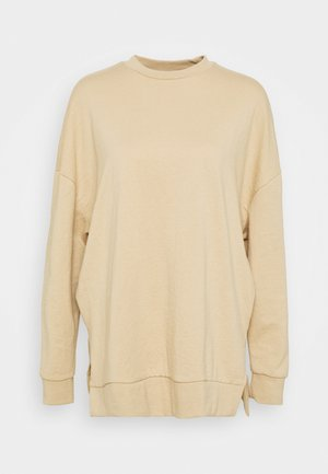 SLIT SIDED LONG OVERSIZED SWEATSHIRT - Sweatshirt - sand