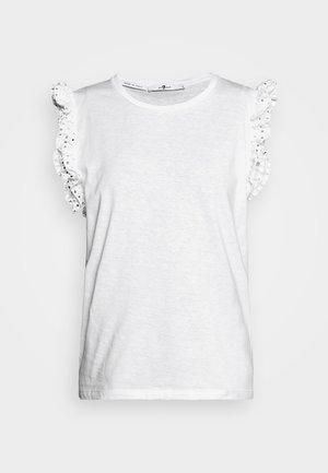 RUFFLE TANK TEE - Print T-shirt - white