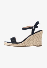 Dorothy Perkins Wide Fit - WIDE FIT RAA-RAA EMBELLISHED VAMP WEDGE - High heeled sandals - navy - 1