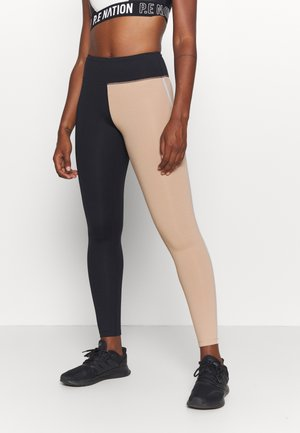 BLOCK HIGH WAIST - Leggings - black/clean beige