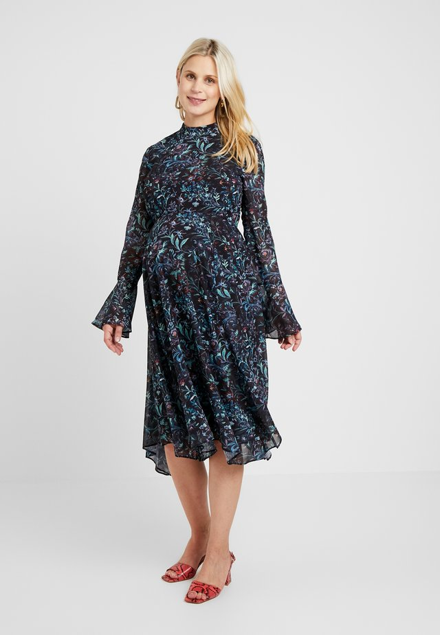 FLUTE LONG SLEEVE HANDKERCHIEF HEM MIDI DRESS - Korte jurk - dark blue