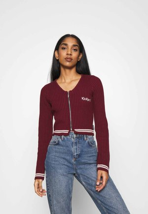 LONG SLEEVE RIB WITH ZIP - Cardigan - burgundy
