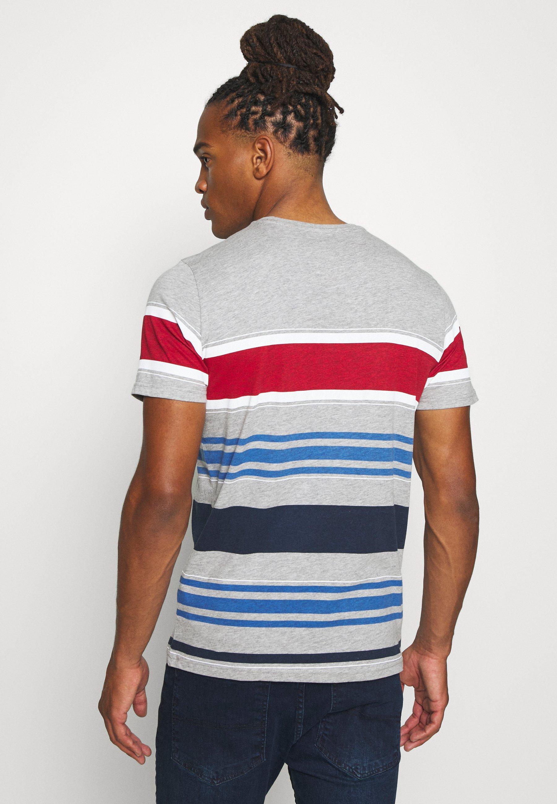 Brave Soul JALOPY - Print T-shirt - light grey marl/white/red/light blue/rich navy 054qU