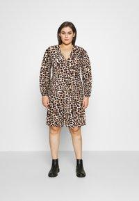 Evans - FRILL DRESS - Robe en jersey - beige/black - 0
