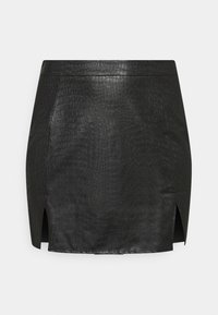Missguided Plus - DOUBLE SPLIT CROC MINI SKIRT - A-line skirt - black - 3
