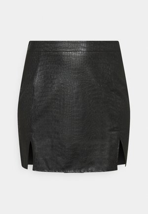 DOUBLE SPLIT CROC MINI SKIRT - Miniskjørt - black