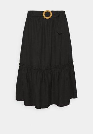 MIDI SKIRT WITH SIDE SPLIT - A-line skirt - black