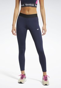 Reebok - TRAINING ESSENTIALS LINEAR LOGO LEGGINGS - Collant - blue - 0