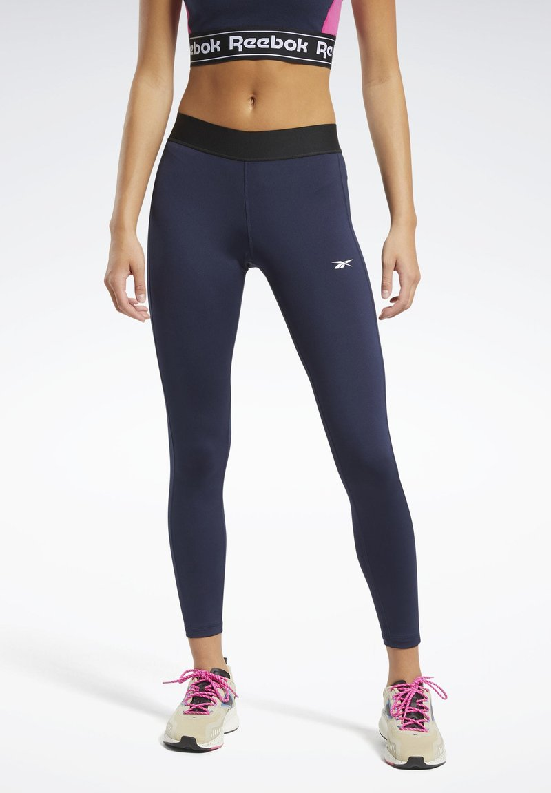 Reebok - TRAINING ESSENTIALS LINEAR LOGO LEGGINGS - Collant - blue