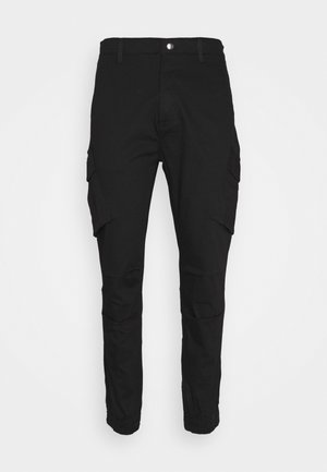 FITTED CUFF PANTS - Cargo trousers - black