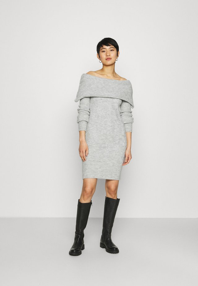 COSY CABLE DETAIL BARDOT - Jumper dress - light grey