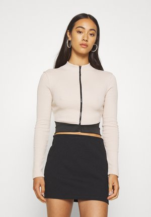 ZIP WAISTBAND CROP - Long sleeved top - nude