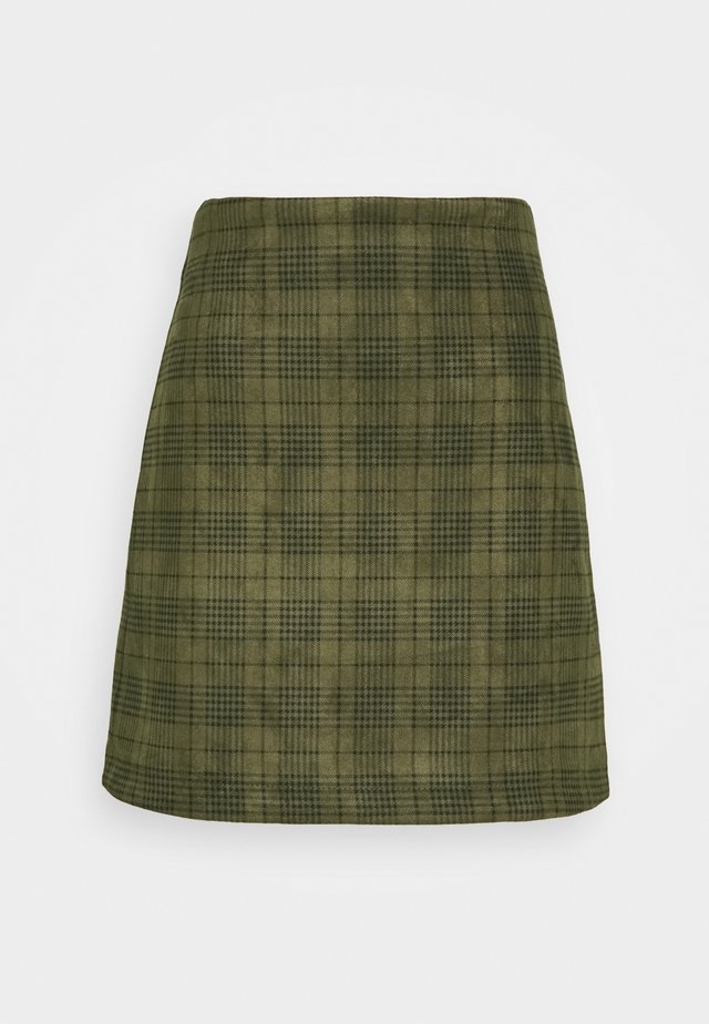 SKIRT CHECK - A-line skjørt - green