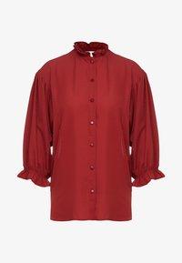 DESIGNERS REMIX - BYRON RUFFLE SHIRT - Button-down blouse - ox blood - 3