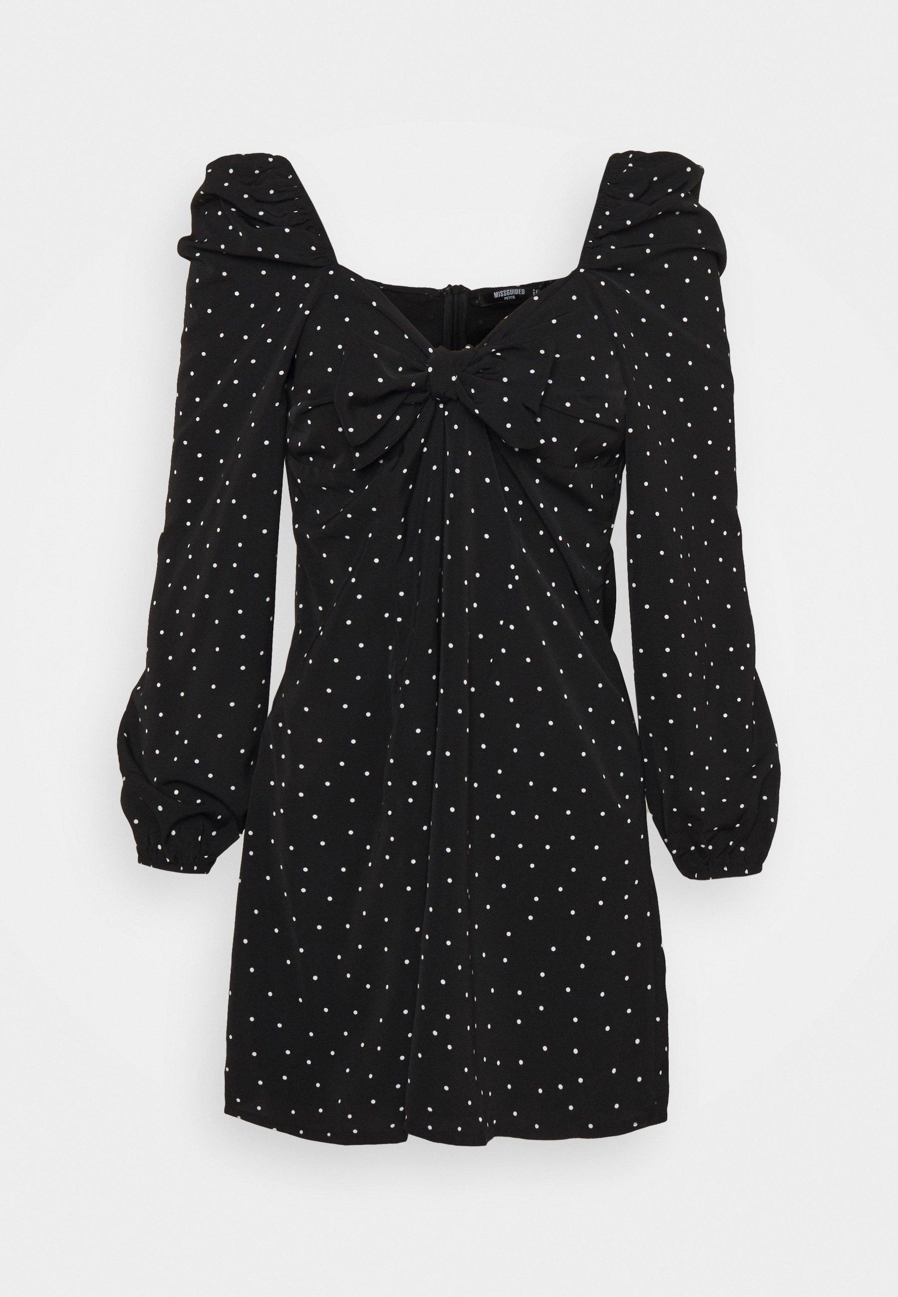 Women POLKA DOT TIE FRONT DRESS - Day dress