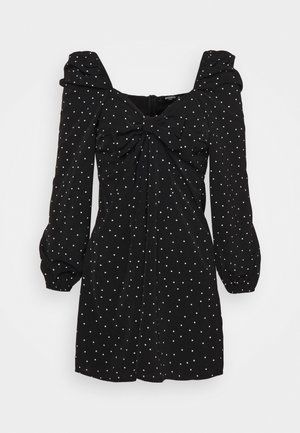POLKA DOT TIE FRONT DRESS - Vardagsklänning - black