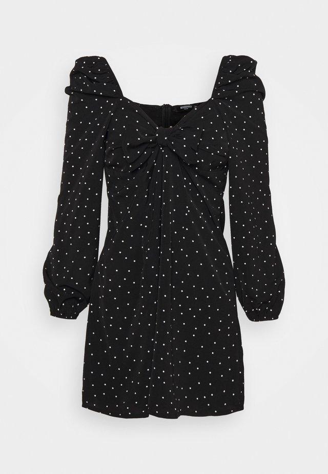 POLKA DOT TIE FRONT DRESS - Korte jurk - black