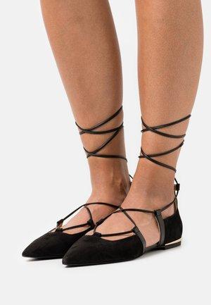 CODE LACES  - Ankle strap ballet pumps - nero