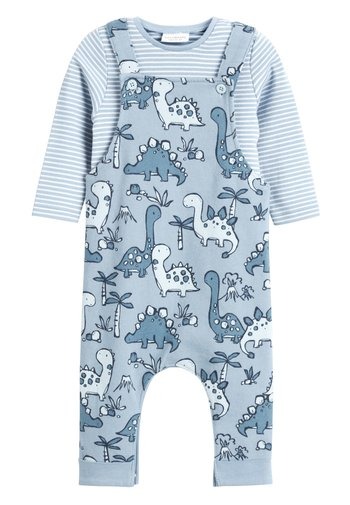 BLUE DINOSAUR JERSEY DUNGAREES AND BODYSUIT SET