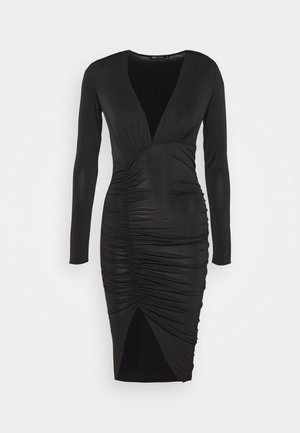 PLUNGE RUCHED DRESS - Jerseykjole - black