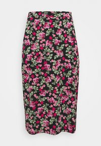 Simply Be - FLORAL MIDI SKIRT - A-line skirt - black - 3