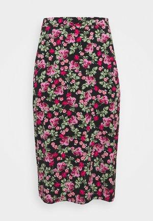 FLORAL MIDI SKIRT - A-line skirt - black