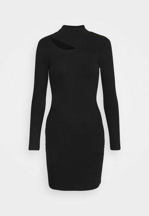 CUT OUT DRESS - Žerzejové šaty - black