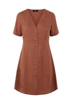 Denim dress - copper brown