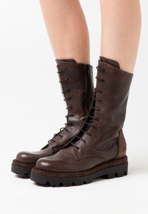 ASTRID - Platform boots - twister brown